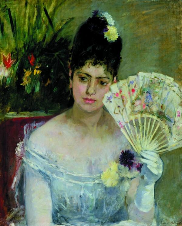 Berthe Morisot (1841-1895), Femme à l'éventail ou Au Bal, 1875. Huile sur toile, 62x52 cm. Paris, musée Marmottan Monet.
